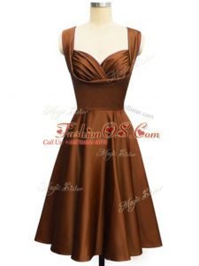 Lovely Knee Length Empire Sleeveless Chocolate Bridesmaid Gown Lace Up