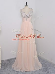 Dazzling Peach Empire Straps Sleeveless Chiffon Floor Length Zipper Sequins Custom Made