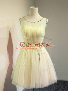 Knee Length Gold Dama Dress for Quinceanera Tulle Sleeveless Belt