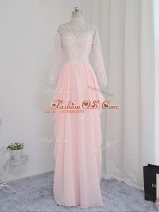 Floor Length Zipper Prom Dresses Baby Pink for Prom and Party and Military Ball with Beading