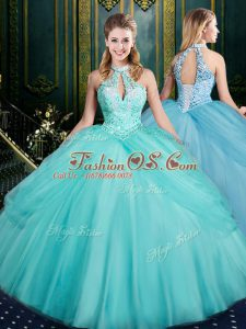 Tulle Sleeveless Floor Length Sweet 16 Dress and Beading and Pick Ups