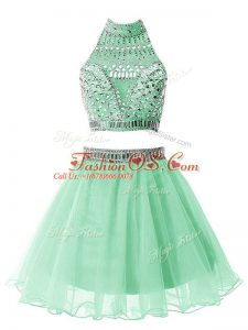 Customized Apple Green Zipper High-neck Beading Wedding Party Dress Organza Sleeveless