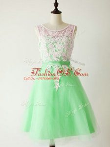 Knee Length Lace Up Bridesmaid Dresses Apple Green for Prom and Party and Wedding Party with Lace