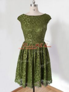Beauteous 3 4 Length Sleeve Lace Knee Length Lace Up Bridesmaid Dress in Olive Green with Lace