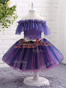 Knee Length Ball Gowns Short Sleeves Purple Little Girls Pageant Gowns Lace Up