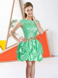 Traditional Apple Green Bateau Neckline Beading and Lace and Ruffles Dama Dress Sleeveless Backless