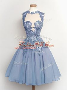 A-line Quinceanera Court of Honor Dress Light Blue High-neck Chiffon Sleeveless Knee Length Lace Up
