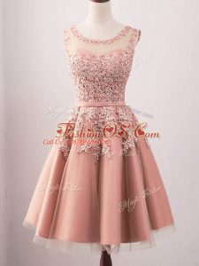Fantastic Sleeveless Knee Length Lace Lace Up Wedding Party Dress with Pink