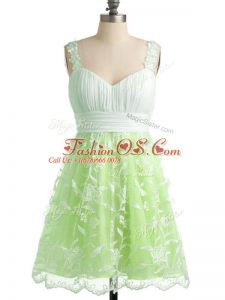 Knee Length Yellow Green Bridesmaid Dresses Straps Sleeveless Lace Up