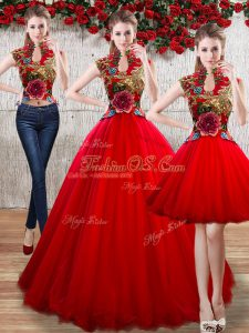 Clearance Floor Length Red 15th Birthday Dress Organza Sleeveless Appliques