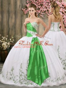 Organza Sleeveless Floor Length Quinceanera Dress and Embroidery and Belt