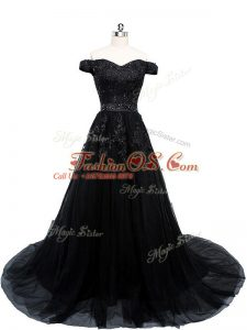 Lace Up Military Ball Gowns Black for Prom and Military Ball and Sweet 16 with Beading and Lace and Appliques Brush Train