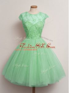 Turquoise Tulle Lace Up Scoop Cap Sleeves Knee Length Bridesmaid Gown Lace