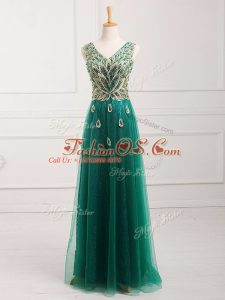 Dazzling Dark Green Prom Party Dress Prom and Party and Military Ball with Lace V-neck Sleeveless Zipper