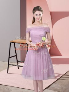 Designer Knee Length Lavender Bridesmaids Dress Tulle Sleeveless Ruching and Belt