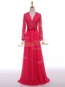 Super Lace and Appliques and Belt Mother Of The Bride Dress Hot Pink Zipper Long Sleeves Floor Length