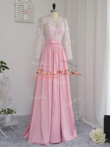 Dramatic Baby Pink Long Sleeves Floor Length Beading Zipper Homecoming Dress