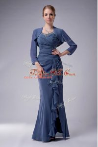 Blue Chiffon Zipper Straps Sleeveless Floor Length Mother Of The Bride Dress Beading