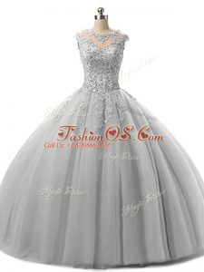Grey Sleeveless Tulle Lace Up Vestidos de Quinceanera for Military Ball and Sweet 16 and Quinceanera