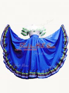 Best Royal Blue Ball Gowns Ruffled Layers Sweet 16 Dresses Lace Up Taffeta Short Sleeves Floor Length