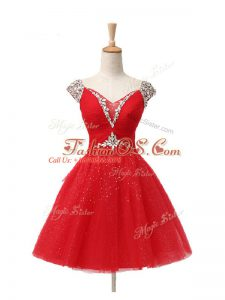 Suitable Red A-line Tulle V-neck Cap Sleeves Beading and Sequins Mini Length Lace Up