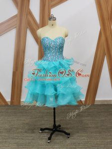 Most Popular Mini Length A-line Sleeveless Aqua Blue Military Ball Dresses Zipper