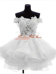 White Zipper Prom Gown Beading and Lace and Ruffles Sleeveless Mini Length