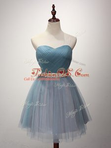 Light Blue Wedding Party Dress Prom and Party and Sweet 16 with Beading and Ruching Sweetheart Sleeveless Lace Up