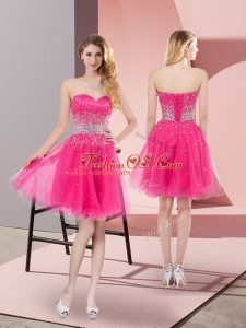 Hot Pink A-line Tulle Sweetheart Sleeveless Beading Mini Length Lace Up Cocktail Dresses