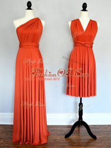 Chiffon One Shoulder Sleeveless Lace Up Ruching Court Dresses for Sweet 16 in Orange Red