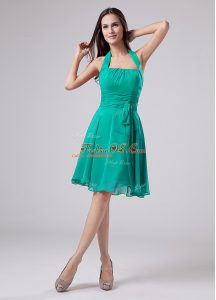 Ideal Sleeveless Chiffon Knee Length Zipper Mother Of The Bride Dress in Turquoise with Ruching