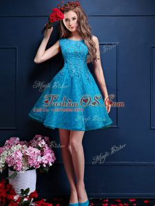Beauteous Teal Tulle Lace Up Bateau Sleeveless Knee Length Wedding Guest Dresses Beading and Lace