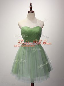 Green Sweetheart Lace Up Beading and Ruching Bridesmaids Dress Sleeveless