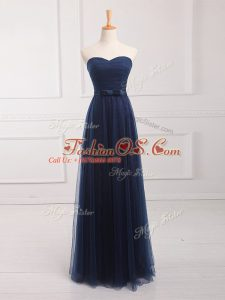 Suitable Navy Blue Sleeveless Tulle and Lace Lace Up Damas Dress for Prom and Party and Wedding Party