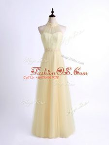 Floor Length Lace Up Bridesmaid Dress Light Yellow for Prom and Party and Wedding Party with Lace and Appliques