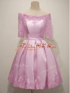 Adorable Lilac Taffeta Lace Up Damas Dress Half Sleeves Knee Length Lace