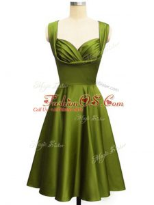 Fine Olive Green Empire Ruching Bridesmaids Dress Lace Up Taffeta Sleeveless Knee Length