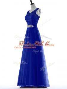 Royal Blue A-line Beading and Lace Party Dress Zipper Tulle Sleeveless Floor Length