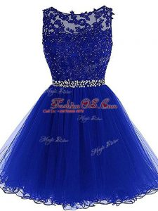 Glamorous Royal Blue Sleeveless Tulle Zipper Party Dress Wholesale for Prom and Party and Sweet 16