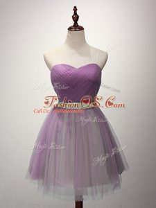 Lilac Wedding Party Dress Prom and Party and Sweet 16 with Ruching Sweetheart Sleeveless Lace Up