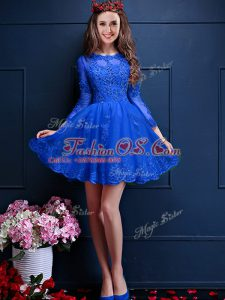 Pretty Royal Blue 3 4 Length Sleeve Beading and Lace and Appliques Mini Length Bridesmaid Dress