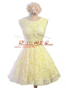 New Arrival Yellow Lace Up Scoop Belt Quinceanera Court Dresses Lace Sleeveless