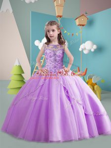 Classical Lavender Scoop Neckline Beading Little Girl Pageant Dress Sleeveless Lace Up