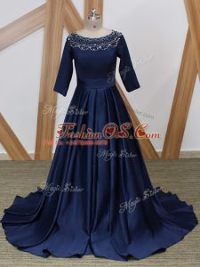 Luxury Navy Blue Mother Of The Bride Dress Scoop 3 4 Length Sleeve Brush Train Zipper