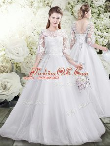 Deluxe White Lace Up Wedding Gown Lace Half Sleeves Floor Length