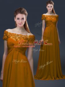 Off The Shoulder Short Sleeves Mother Of The Bride Dress Floor Length Appliques Brown Chiffon