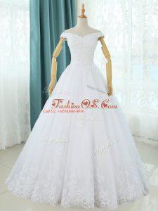 Spectacular A-line Bridal Gown White Off The Shoulder Tulle Sleeveless Floor Length Lace Up