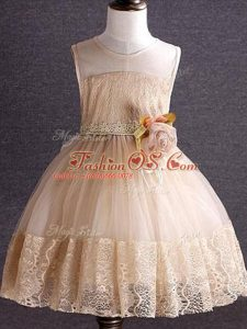 Champagne Tulle Zipper Girls Pageant Dresses Sleeveless Knee Length Lace and Hand Made Flower