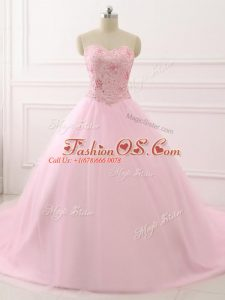 Inexpensive Baby Pink Ball Gowns Sweetheart Sleeveless Tulle Brush Train Lace Up Beading Quinceanera Dresses
