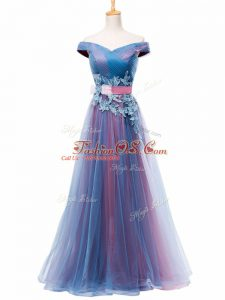 Excellent Off The Shoulder Sleeveless Tulle Appliques and Ruching and Belt Lace Up